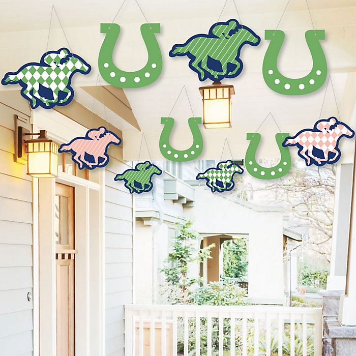 Hanging Kentucky Horse Derby - Outdoor Horse Race Party Hanging Porch and Tree Yard Decorations - 10 Pieces