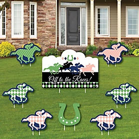 Kentucky Horse Derby - Yard Sign and Outdoor Lawn Decorations - Horse Race Party Yard Signs - Set of 8