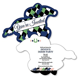 Kentucky Horse Derby - Shaped Horse Race Party Invitations - Set of 12