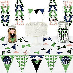 Kentucky Horse Derby - DIY Pennant Banner Decorations - Horse Race Party Triangle Kit - 99 Pieces