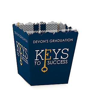 Grad Keys to Success - Party Mini Favor Boxes - Personalized Graduation Treat Candy Boxes - Set of 12