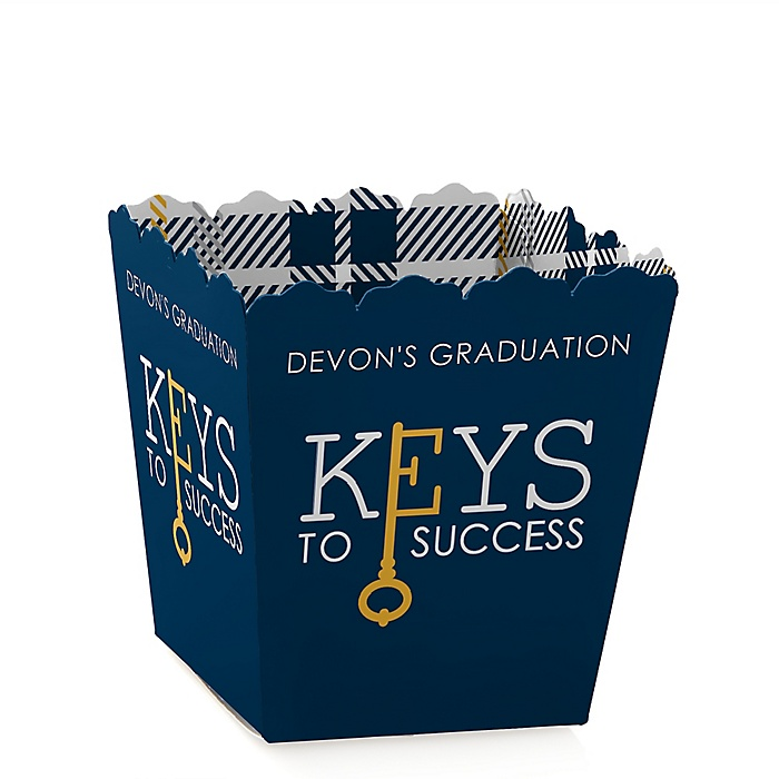 Grad Keys to Success - Party Mini Favor Boxes - Personalized Graduation Treat Candy Boxes - Set of 12
