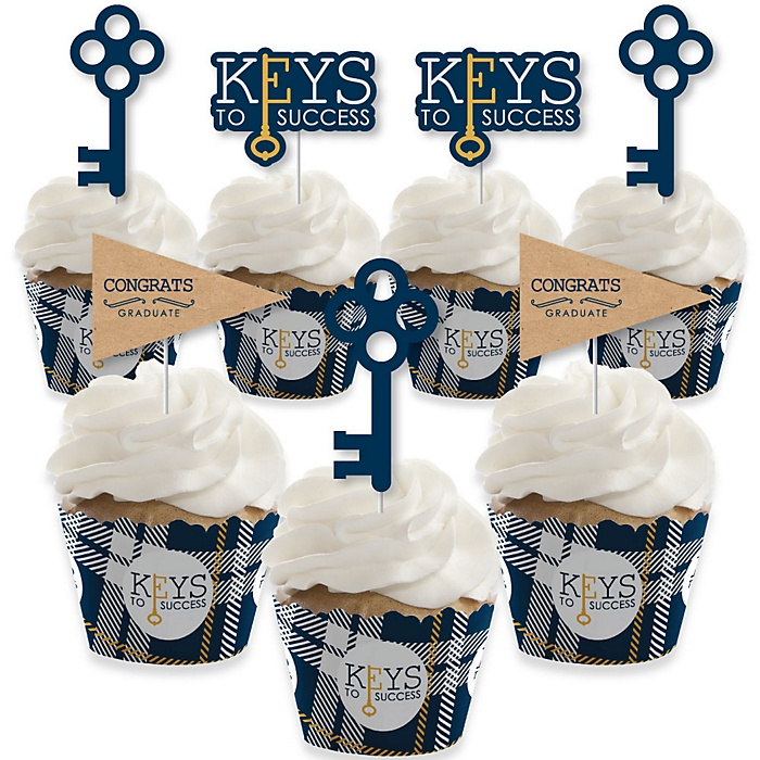 Grad Keys to Success - Cupcake Decoration - Graduation Party Cupcake Wrappers and Treat Picks Kit - Set of 24
