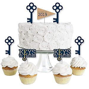 Grad Keys to Success - Dessert Cupcake Toppers - 2019 Graduation Party Clear Treat Picks - Set of 24
