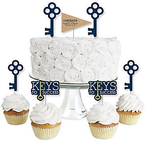 Grad Keys to Success - Dessert Cupcake Toppers - Graduation Party Clear Treat Picks - Set of 24