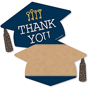 Grad Keys To Success - Shaped Thank You Cards - Graduation Party Thank You Note Cards with Envelopes - Set of 12