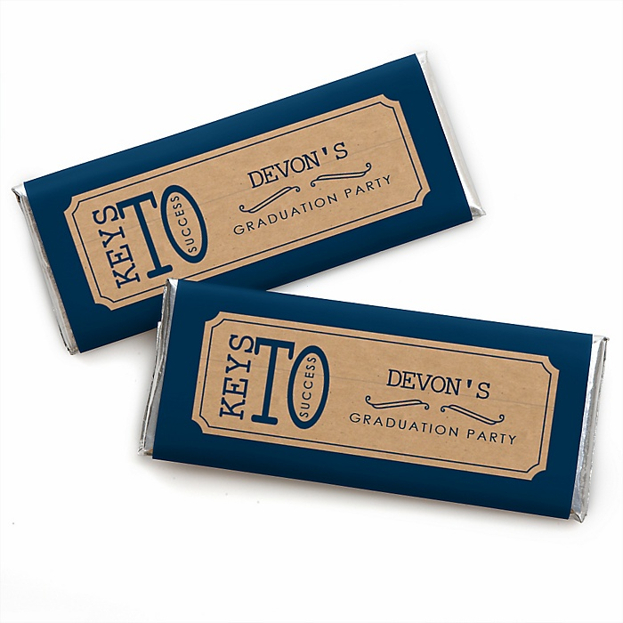 Grad Keys to Success - Personalized Candy Bar Wrappers Graduation Party Favors - Set of 24