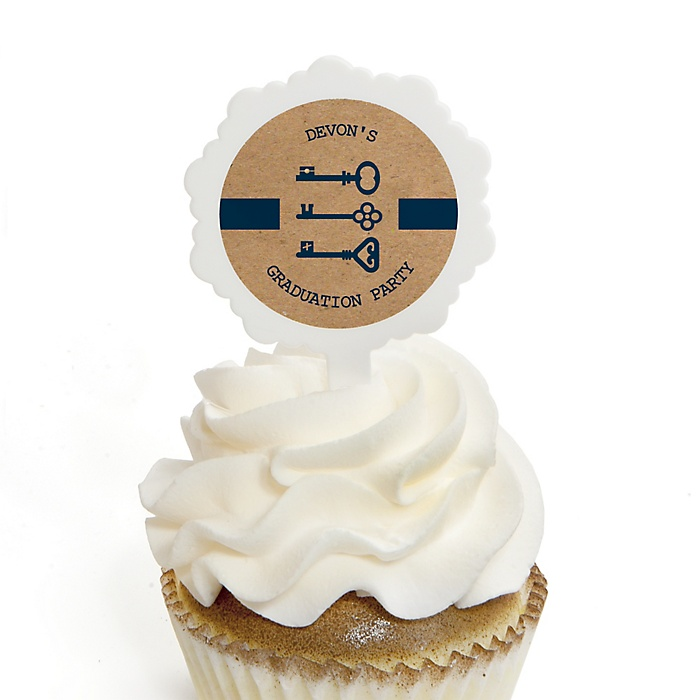 Grad Keys to Success - Personalized Graduation Cupcake Pick and Sticker Kit - 12 ct