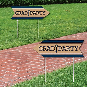 Grad Keys to Success - Graduation Party Sign Arrow - Double Sided Directional Yard Signs - Set of 2