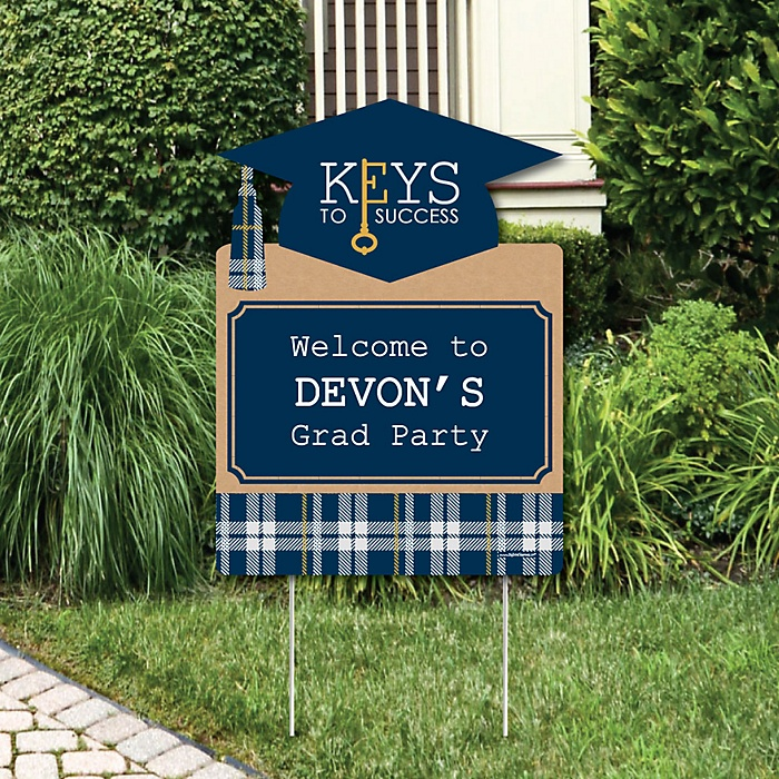 Grad Keys to Success - Graduation Decorations - Graduation Party Personalized Welcome Yard Sign