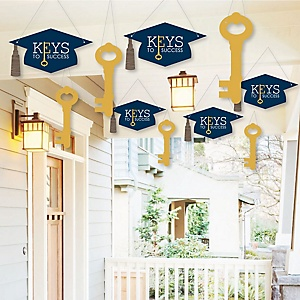 Hanging Grad Keys to Success -  Outdoor Graduation Party Hanging Porch & Tree Yard Decorations - 10 Pieces