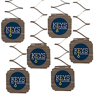 Grad Keys to Success - Graduation Party Hanging Decorations - 6 ct