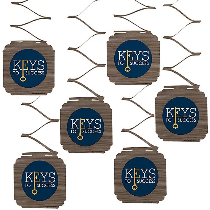 Grad Keys to Success - Graduation Party Hanging Decorations - 6 ct