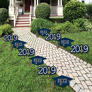 Grad Keys to Success - Grad Cap and 2019 Shaped Outdoor Graduation Lawn Decorations - Graduation Party Yard Signs - 10 Piece