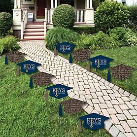 Grad Keys to Success - Grad Cap and Shaped Outdoor Graduation Lawn Decorations - Graduation Party Yard Signs - 10 Piece