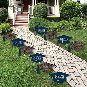 Grad Keys to Success - Grad Cap and Shaped Outdoor Graduation Lawn Decorations - Graduation Party Yard Signs - 10 Piece