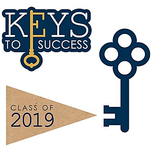 Grad Keys to Success - DIY Shaped 2019 Graduation Party Paper Cut-Outs - 24 ct