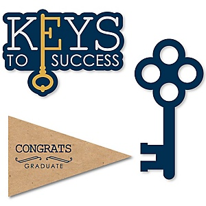 Grad Keys to Success - DIY Shaped Graduation Party Paper Cut-Outs - 24 ct