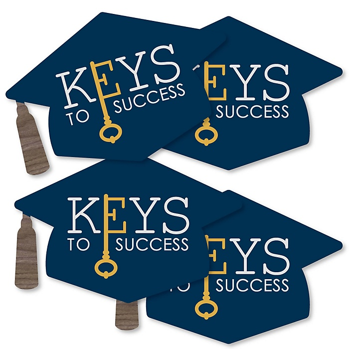 Grad Keys to Success - Grad Cap Decorations DIY Graduation Party Essentials - Set of 20