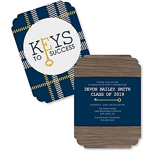 Grad Keys to Success - Personalized 2019 Graduation Invitations - Set of 12