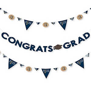 Grad Keys To Success - Graduation Party Letter Banner Decoration - 36 Banner Cutouts and Congrats Grad Banner Letters