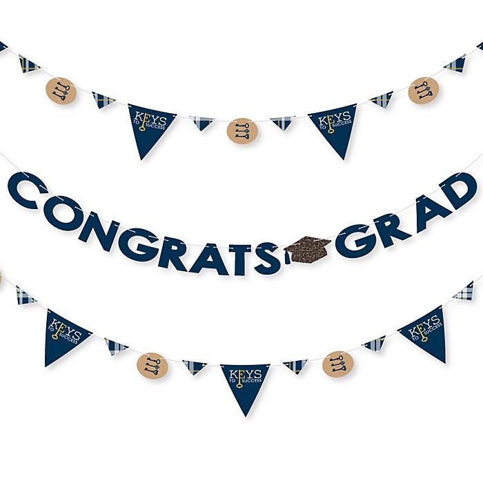 Grad Keys To Success - Graduation Party Letter Banner Decoration - 36 Banner Cutouts and Congrats Grad Banner Letters