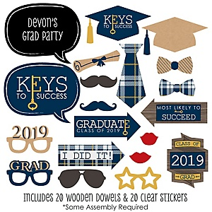 Grad Keys to Success - 20 Piece 2019 Graduation Party Photo Booth Props Kit