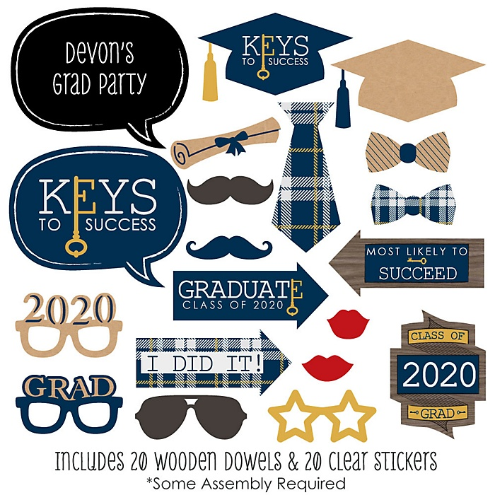 Grad Keys to Success - 20 Piece 2020 Graduation Party Photo Booth Props Kit