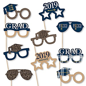 Grad Keys to Success Glasses - 2019 Paper Card Stock Graduation Party Photo Booth Props Kit - 10 Count