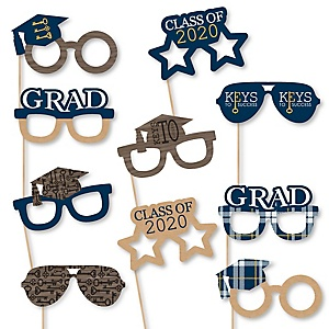 Grad Keys to Success Glasses - 2020 Paper Card Stock Graduation Party Photo Booth Props Kit - 10 Count
