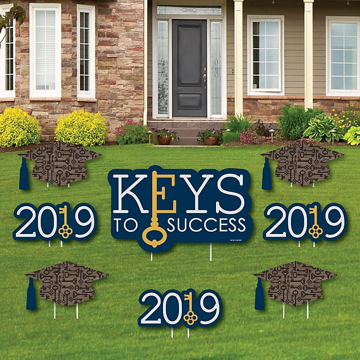 Grad Keys to Success - Yard Sign & Outdoor Lawn Decorations - 2019 Graduation Party Yard Signs - Set of 8