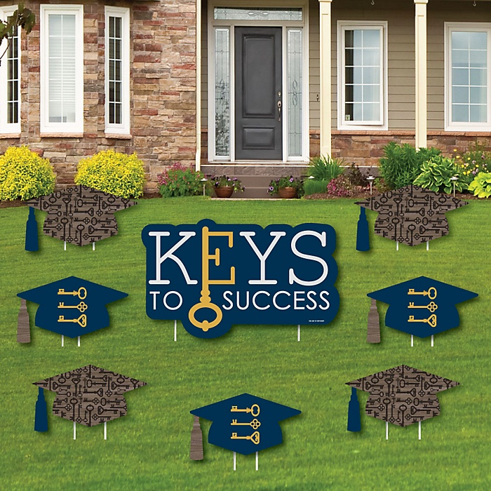 Grad Keys to Success - Yard Sign & Outdoor Lawn Decorations - Graduation Party Yard Signs - Set of 8