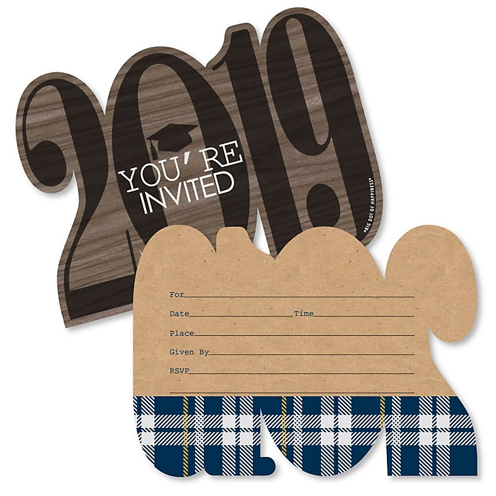Grad Keys to Success - 2019 Shaped Fill-In Invitations - Graduation Party Invitation Cards with Envelopes - Set of 12