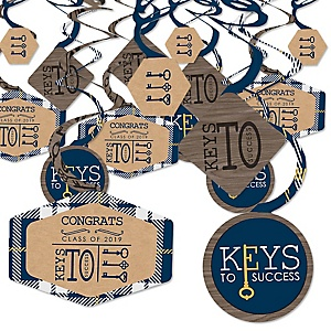 Grad Keys to Success - 2019 Graduation Party Hanging Decor - Party Decoration Swirls - Set of 40