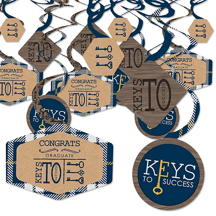 Grad Keys to Success - Graduation Party Hanging Decor - Party Decoration Swirls - Set of 40
