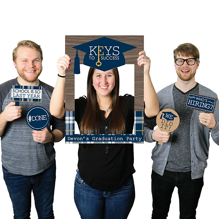 Grad Keys to Success - Personalized Graduation Party Selfie Photo Booth Picture Frame & Props - Printed on Sturdy Material