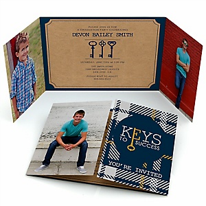 Grad Keys to Success - Personalized Photo Graduation Invitations - Set of 12