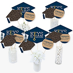 Grad Keys To Success - Graduation Party Centerpiece Sticks - Table Toppers - Set of 15