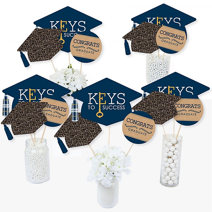 Grad Keys To Success - Graduation Party Centerpiece Sticks - Table Toppers - Set of 15