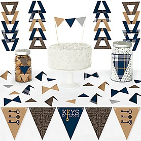 Grad Keys to Success - DIY Pennant Banner Decorations - Graduation Party Triangle Kit - 99 Pieces