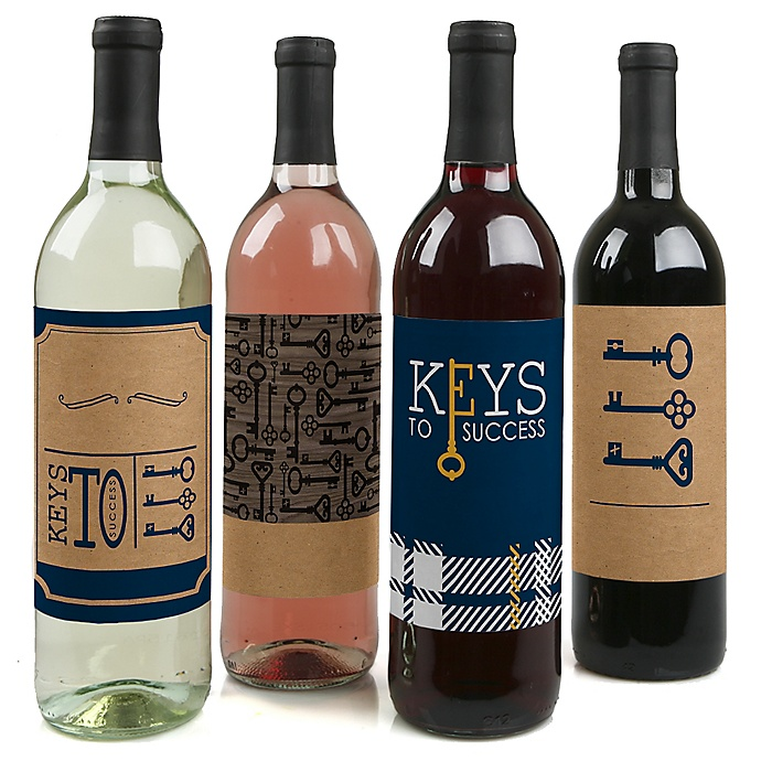 Grad Keys to Success - Graduation Decorations for Women and Men - Wine Bottle Label Stickers - Set of 4