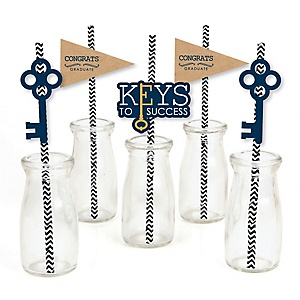 Grad Keys to Success - Paper Straw Decor - Graduation Party Striped Decorative Straws - Set of 24