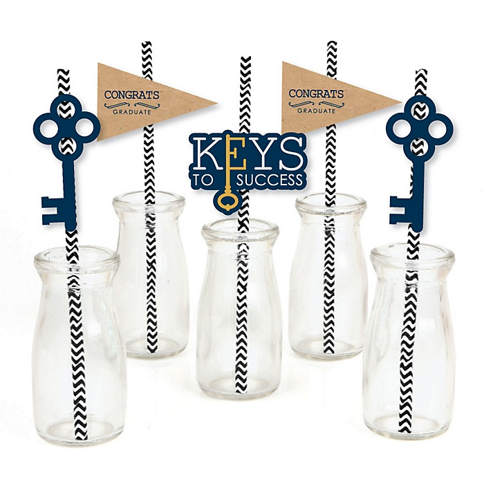Grad Keys to Success - Paper Straw Decor - Graduation Party Striped Decorative Straws - Set of 24