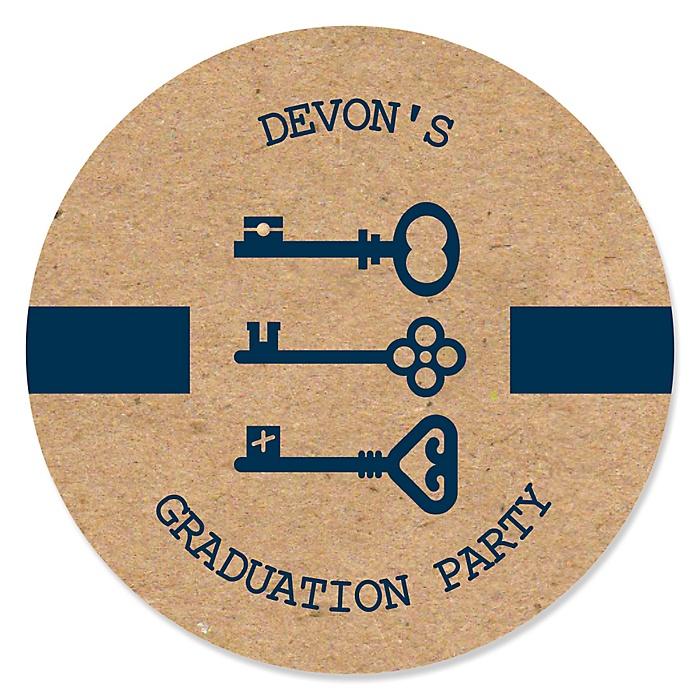 Grad Keys to Success - Personalized Graduation Sticker Labels - 24 ct
