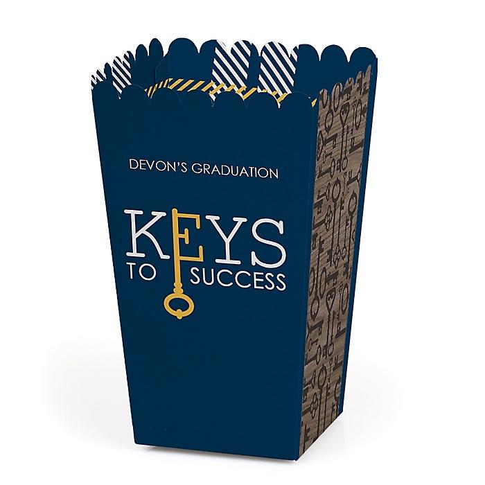 Grad Keys to Success - Personalized Graduation Popcorn Favor Treat Boxes - Set of 12