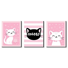 Purr-fect Kitty Cat - Boy Kitten Meow Nursery Wall Art and Kids Room Decor - 7.5 x 10 inches - Set of 3 Prints