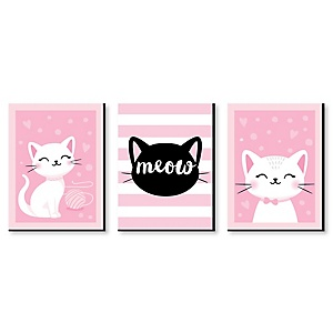 Purr-fect Kitty Cat - Boy Kitten Meow Nursery Wall Art and Kids Room Décor - 7.5 x 10 inches - Set of 3 Prints