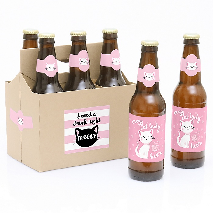Purr-fect Kitty Cat - Decorations for Women and Men - 6 Kitten Meow Birthday Party Beer Bottle Label Stickers and 1 Carrier