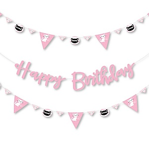Purr-fect Kitty Cat - Kitten Meow Birthday Party Letter Banner Decoration - 36 Banner Cutouts and Happy Birthday Banner Letters