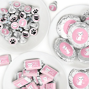 Purr-fect Kitty Cat - Mini Candy Bar Wrappers, Round Candy Stickers and Circle Stickers - Kitten Meow Baby Shower or Birthday Party Candy Favor Sticker Kit - 304 Pieces